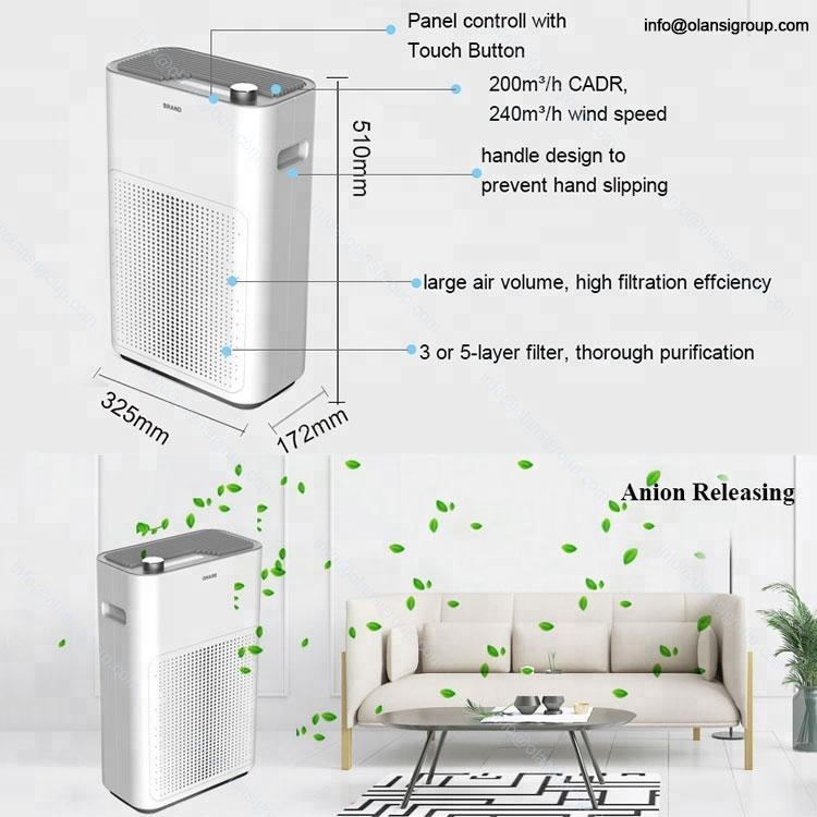 Indoor Office Hotel Home Hepa Filter Air Cleaner Pm2.5 Smoke Air Purifier Manufacturer