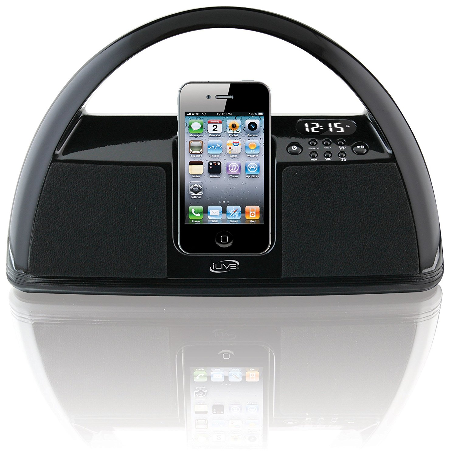 iLive iBP181B Portable Boombox PLL/FM Radio with Dock for iPhone/iPod