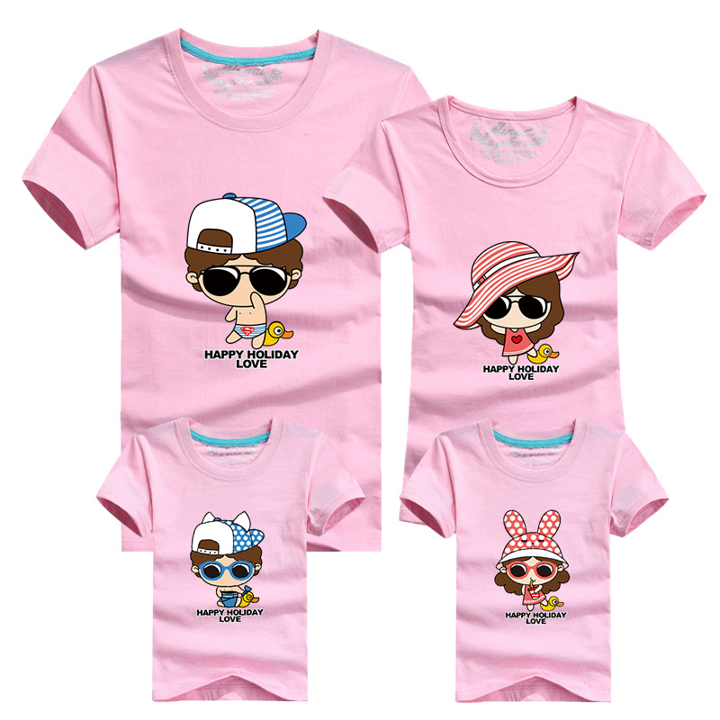 1 Piece Family Look Cartoon T Shirts Tees 2016 Family Matching Outfits Mother Daughter Son Father