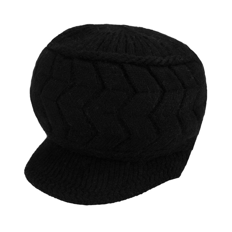 abd1c048049 Get Quotations · Romacci Women Cable Knit Visor Hat Winter Knit Stretch  Warm Beanie Ski Caps Crochet Rib Hat