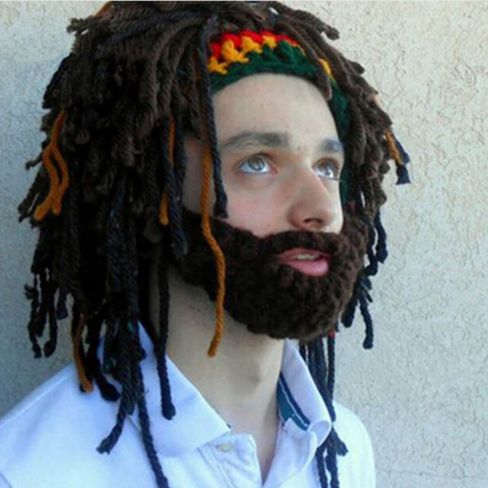 65c418dfa09 Get Quotations · Mysika Creative Women and Men Beard Mask Wig Funny Knit  Wool Crazy Funny Winter Hats Caps