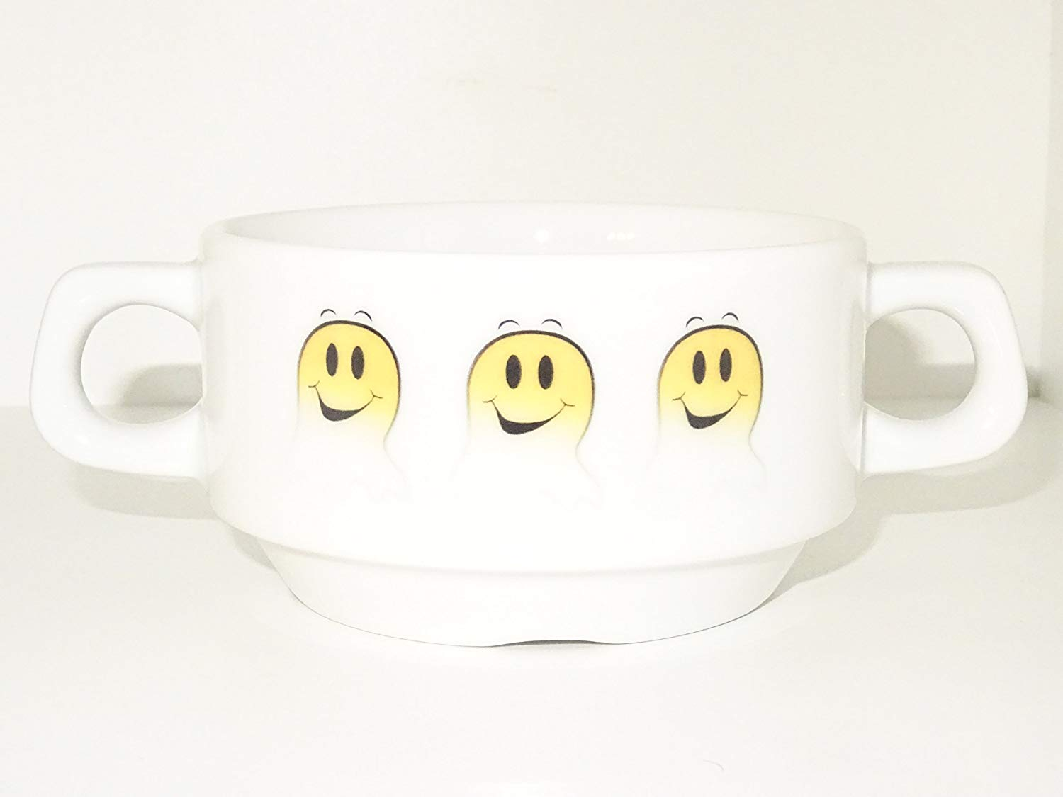 Soup Bowl 20, 1 pcs, Ghost Smiley Soup Bowl Small Baby Child Kids, Bottom, Hidden Message, Secret Message, Animal, Cartoon, Cute Animals, Kids, Porcelain