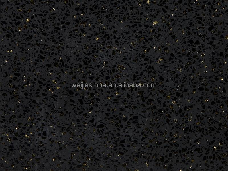 Sparkle Black Galaxy S Artificial Quartz Slab Wall Floor Tiles