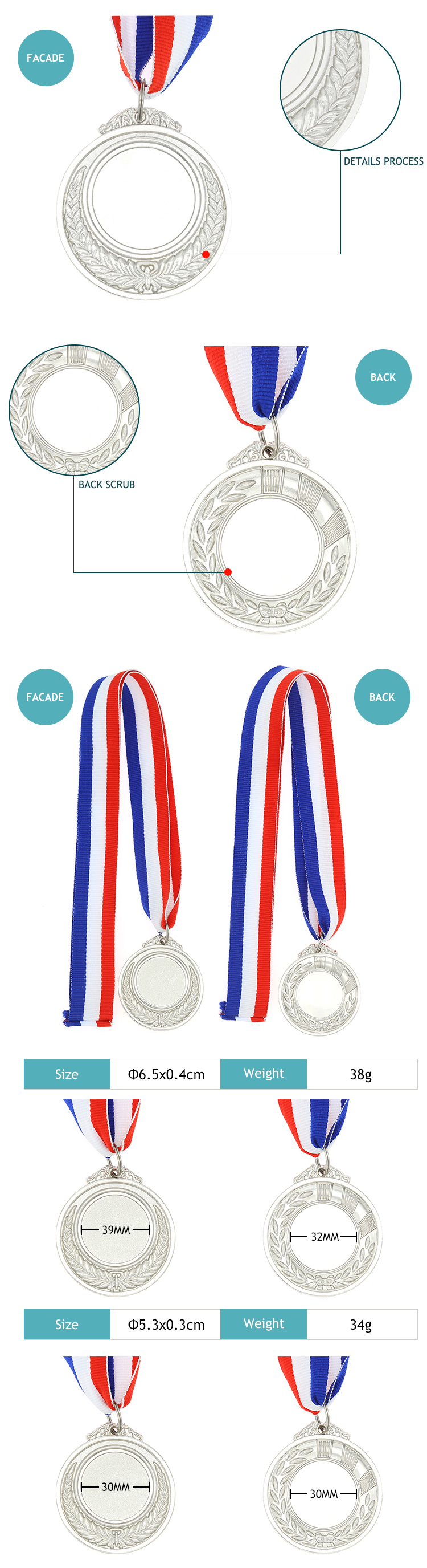 Wholesale cheap award blank medals high quantity
