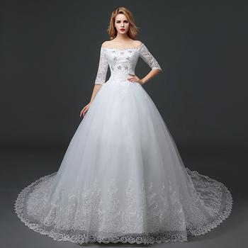 8b62f683db Wholesale Elegant Off the Shoulder Lace Half Sleeve Beauty Bridal Sexy Wedding  Dress Ball Gown