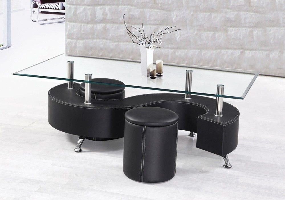 Get Quotations · 1PerfectChoice Modern Style Coffee Table Glass Top S  Design PU Leather Base 2 Ottomans In Black