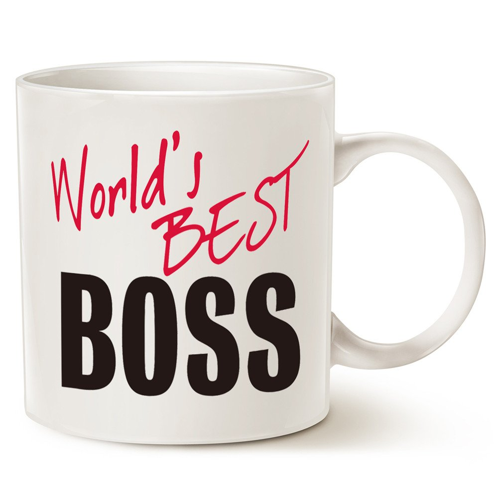 Get Quotations MAUAG Christmas Gifts Worlds Best BOSS Coffee Mug Funny For Boss Day White 14 Oz