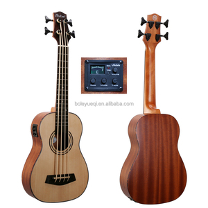 High End Cheap 4 Strings EQ Guitar 30 inch Bass Ukulele with Spruce Solid BS380E