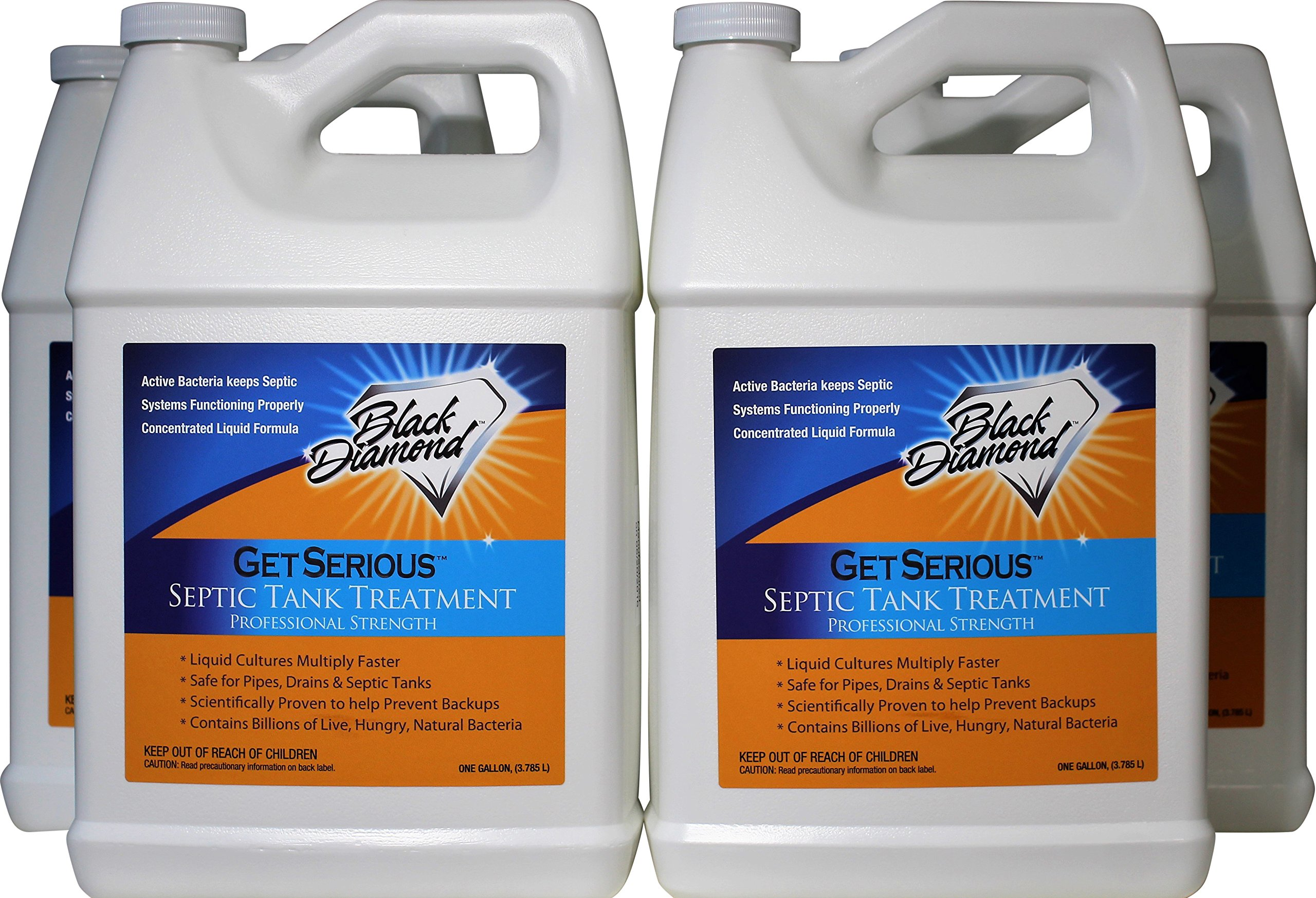 GET SERIOUS Septic Tank Treatment Liquid Natural Enzymes For Residential, Commercial, Industrial, RV's Systems. (4, gallon)