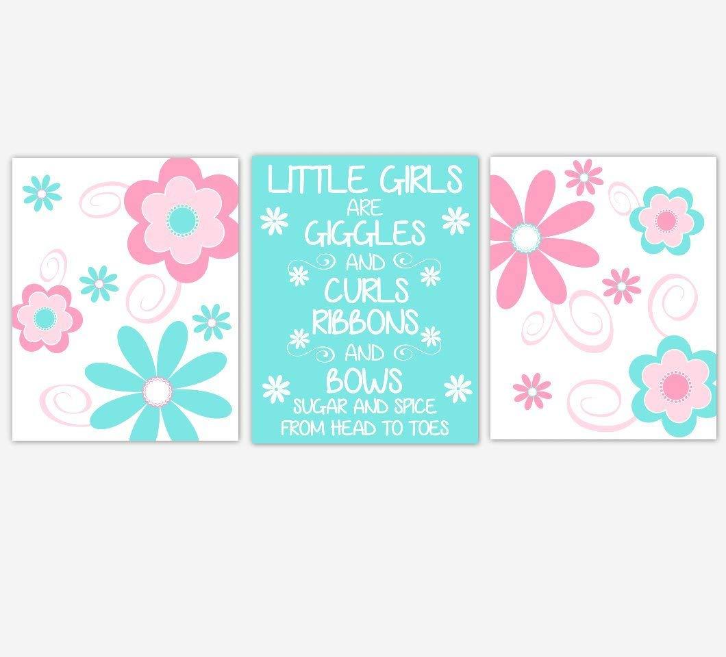 Baby Nursery Wall Art Pink Aqua Blue Flowers Fl