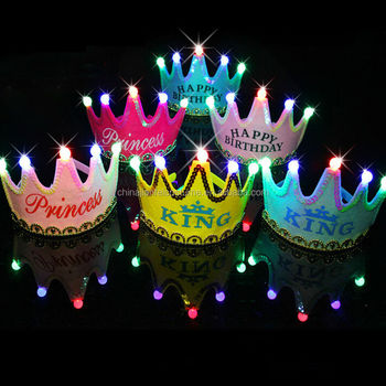Happy Birthday Cap Colorful Non Woven Hat King Princess Luminous Led New