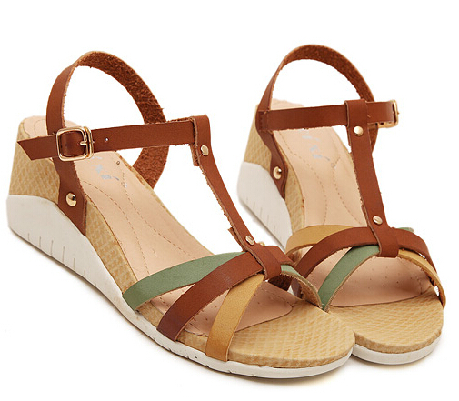 Fashion Concise Women Sandals 2015 New Summer Wedges Heel Dress Casual Shoes Sexy T Straps Gladiator Sandals For Women