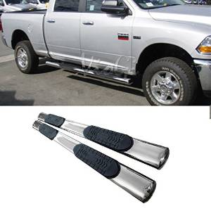"VIOJI Fit 09-14 Dodge Ram 1500 / 10-14 2500 / 3500 Crew Cab ( 4 Full Size Doors ) 6"" Oval S/S Chrome Side Step Nerf Bar Running Boards Pair"