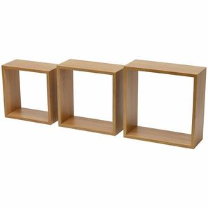 Wall Mounted Solid Wood Three Shelving Cubes Storage