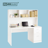 Wood Corner Computer Desk for Home Office with Bookshelf White