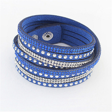 New Braided Leather Bracelet Rhinestone Crystal Bracelet Wrap Multilayer Ladies Bracelets For Women Feminino Jewelry 2019