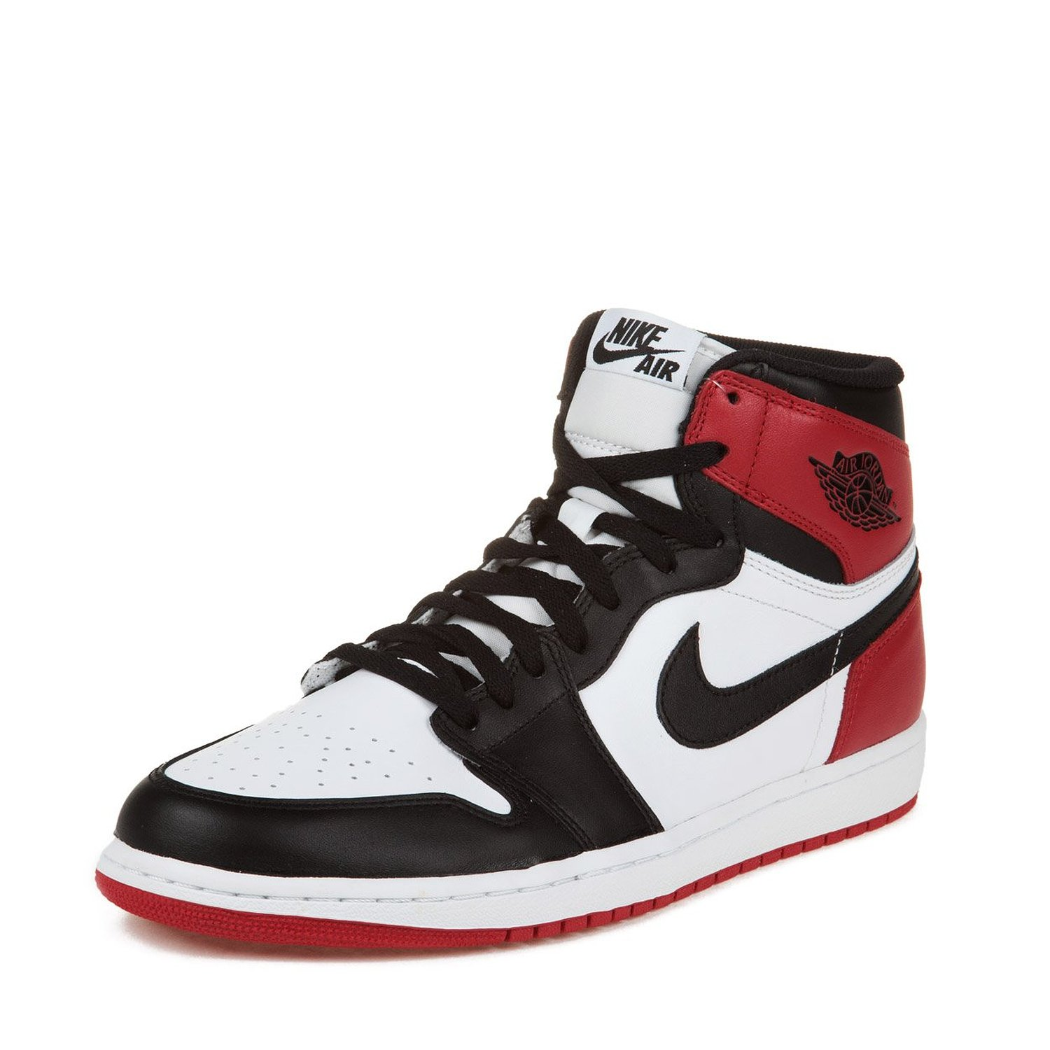 "Nike Mens Air Jordan 1 Retro High OG ""Black Toe"" Leather Basketball Shoes"
