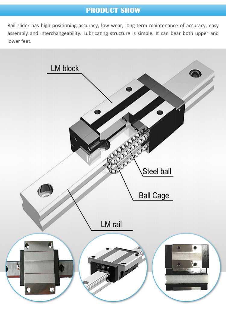 Linear slide guide rail and blocks for mechanical parts