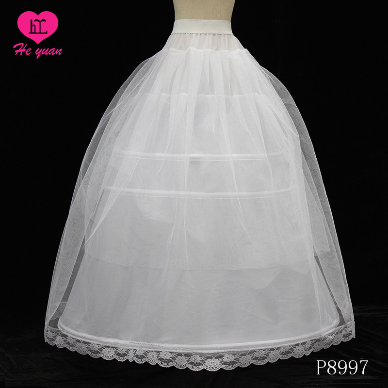 P8997Hot Sale Under Wear Underskirt Puffy 3Hoops 3 Layers Tulle Petticoat For Wedding Dress Bridal Gown
