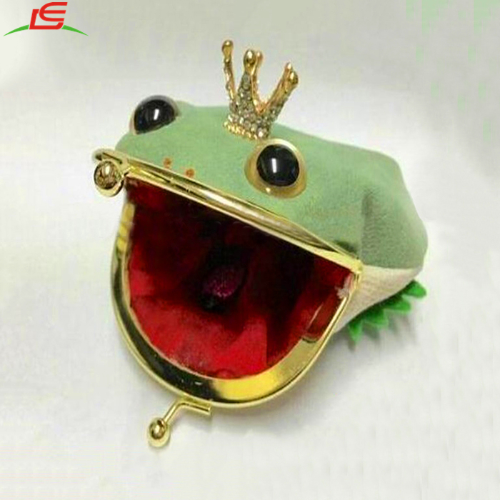 wholesale plush crown frog coin bags purse wallet