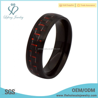Titanium red carbon fiber steel ring,titanium carbon fiber male rings