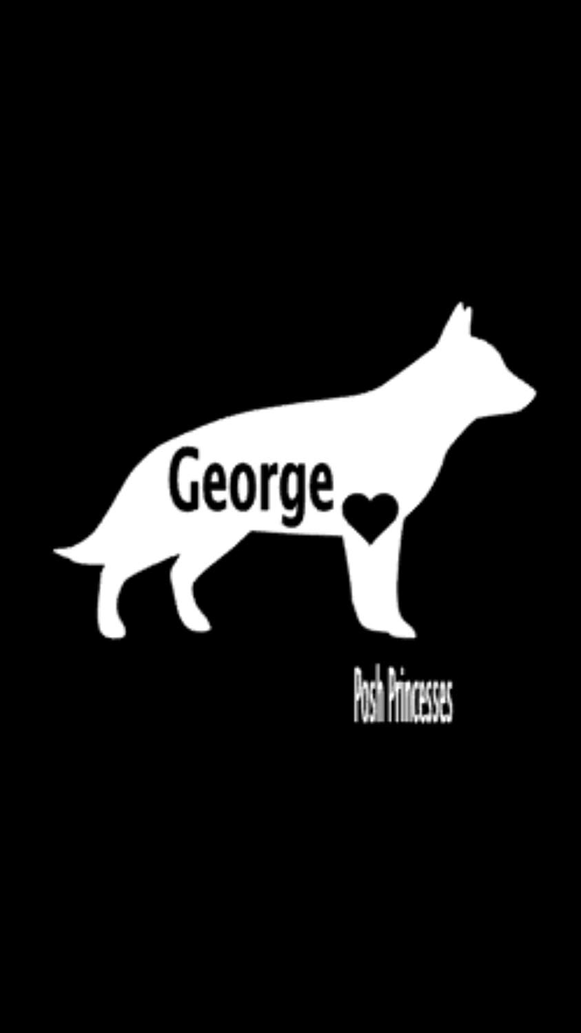 """German Shepherd Personalized Vinyl Decal, Dog Decal Car Window Decal, Dog Food Container Decal, Laptop Sticker, White 3.5""""x 2.5"""""""