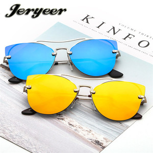Cheap wholesale 2018 oversized polarized sunglasses metal frame mirror lens cat eye sun glasses women