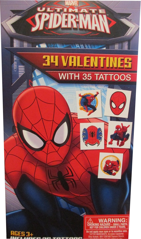 Marvel Ultimate Spider Man 34 Valentines Day Cards & Tattoos