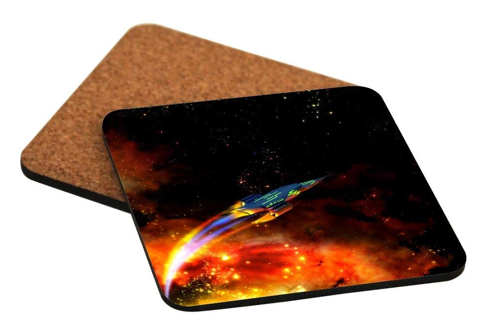 Rikki Knight Spaceship in Outerspace Galaxy Nebula Design Cork Backed Hard Square Beer Coasters, 4-Inch, Brown, 2-Pack