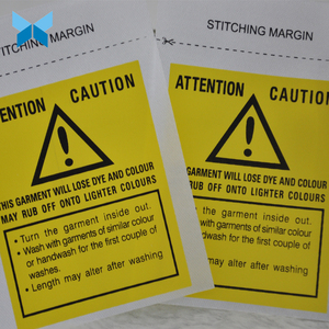 Colour Printing Polyester Satin Washing Warning Labels for Clothes