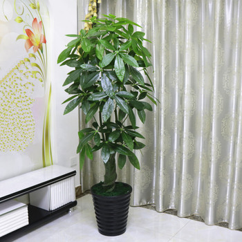 artificial pachira money tree plastic foliage plant green leaves indoor decovego buy green. Black Bedroom Furniture Sets. Home Design Ideas