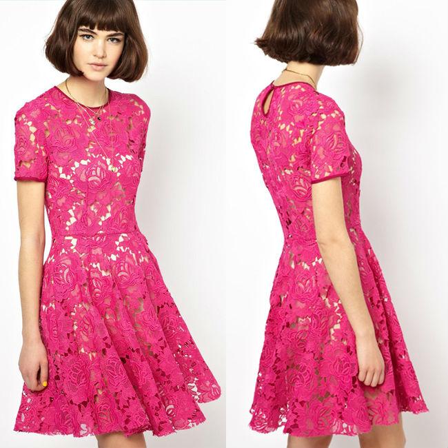2014 moda caliente venta vestido de encaje rosa de manga corta ...