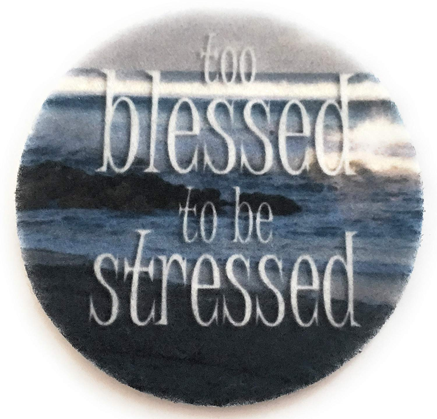 Too Blessed to be Stressed Car Coasters - Absorbent Car Coasters - 2 Pack