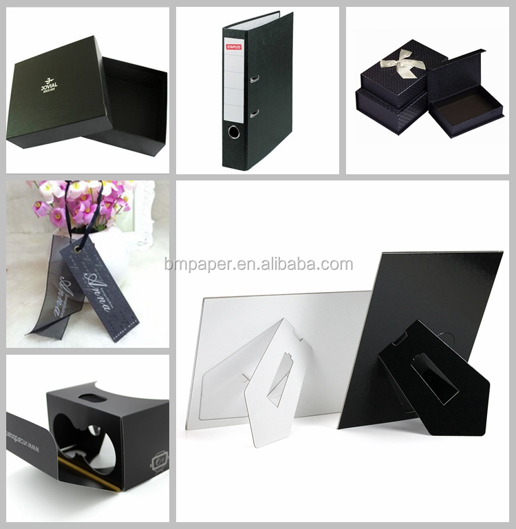 FSC Certificate 250g 300gsm AA high quality Virgin Wood Pulp Black Paper Board 500*700mm