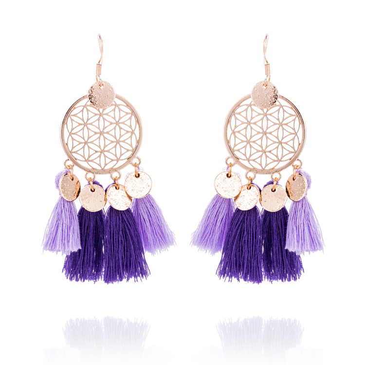 Bohemia Four Pendant Knot Pink Tassel Earrings for Lady