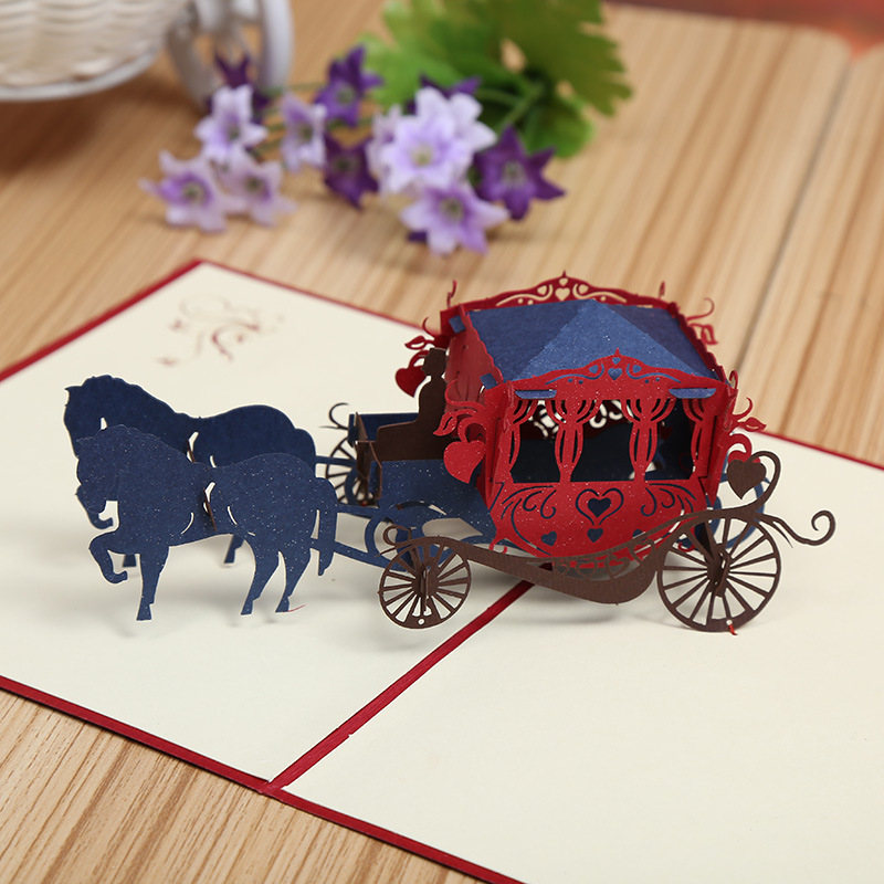 3D Carriage Pop up Greeting Wedding <strong>Cards</strong>