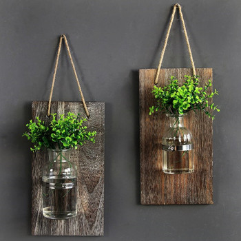 Decorative Mason Jar Wooden Wall Decor Rustic Sconces With Flowers Farmhouse Home Set Of 3