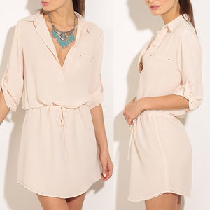 China Import Summer Girls' long Shirt Elegant V Collar Solid Color Waist Tie Day Women Dress