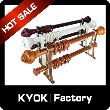 Kyok Supply Adjustable Wooden Double Curtain Rod,Wooden Durable ...