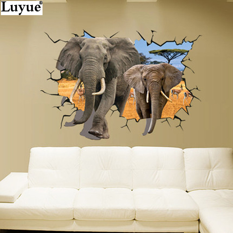 70*100cm 3D Elephants Wall Stickers <font><b>Home</b></font> <font><b>Decor</b></font> Sticker For Kids Rooms Animal Poster <font><b>African</b></font> elephant Large Wall Stickers