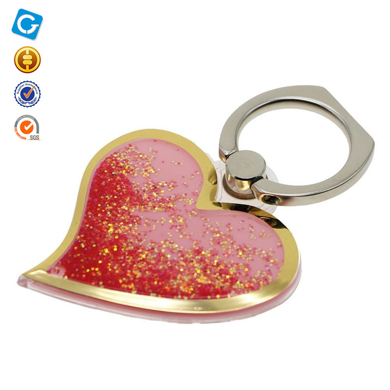 Bling Liquid Glitter Quicksand Love Heart Rotating Finger Ring Stand Buckle Mobile Phone Holder