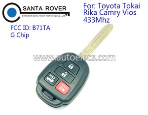 Uncut Key For Toyota TOKAI RIKA Camry Vios Keyless Remote Key Fob 4 Button G Chip 433Mhz