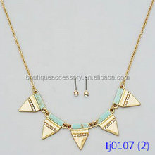 Crystal Pave Triangle Natural Stone Delicate Necklace Set