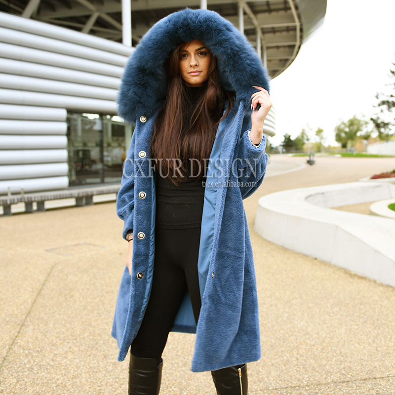 CX-G-T-05C Winter Coats For Women Fur Hood Coat Sheep Fur Shearling Coat