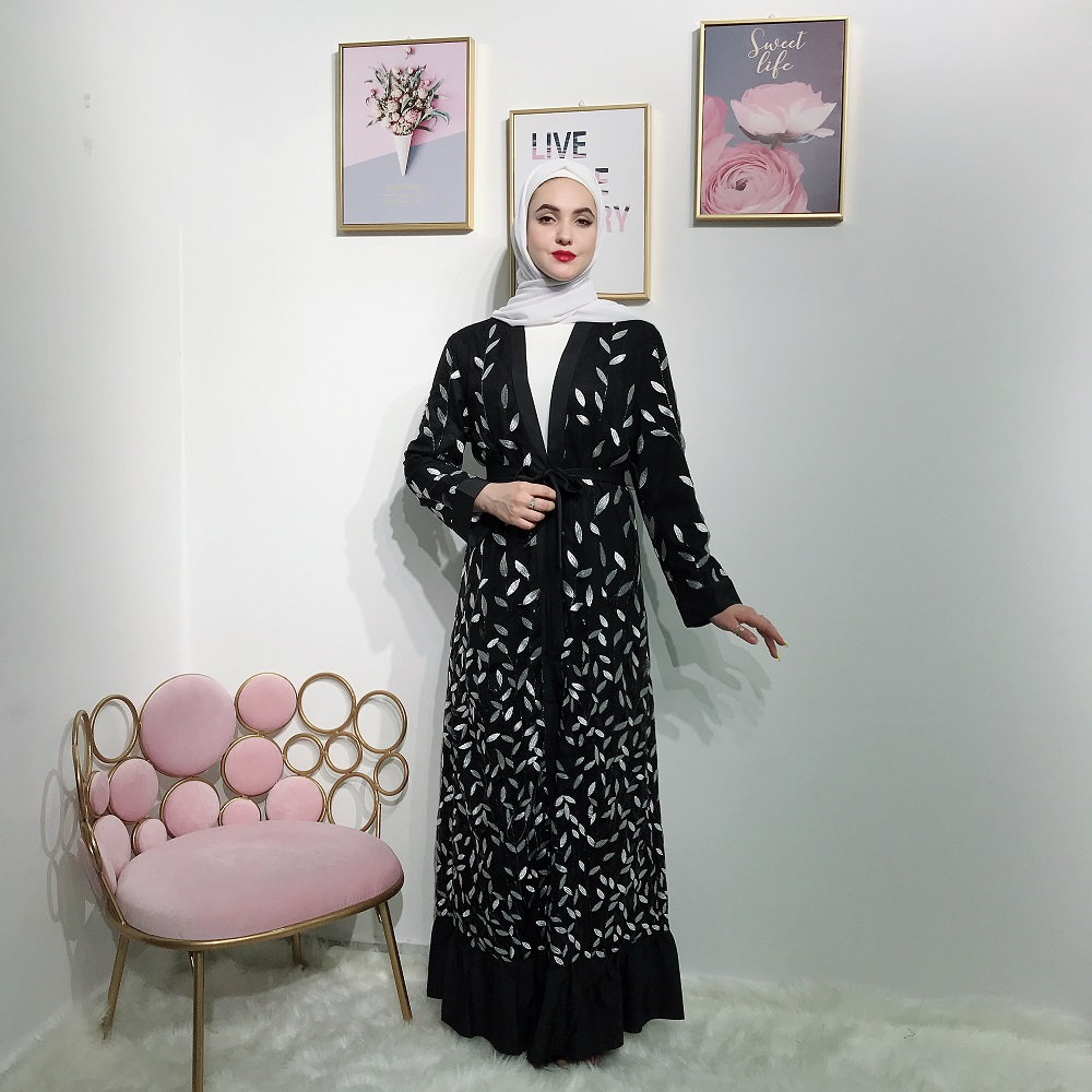 Newest middle east women clothing long sleeve lace leaves abaya front open kimono dress