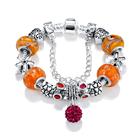 LZESHINE 2018 New Friendship Orange Murano Glass Beads Bracelet With Safety Charm Brjouterie PCBR0034