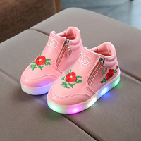 Newest winter Autumn LED lighting children shoes Lovely nice rose kids flashing luminous sneakers kids girls shoes