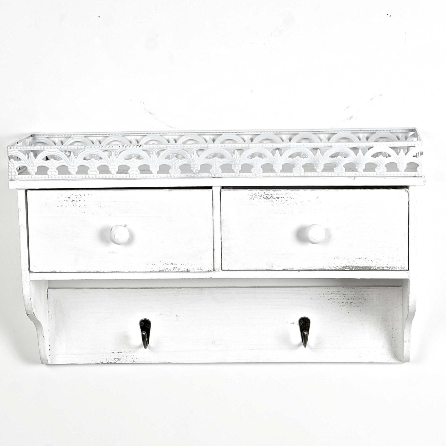 Antique Style Wooden Shelf with Metal Decorative Edge -- Drawers and Hooks -- Washed White