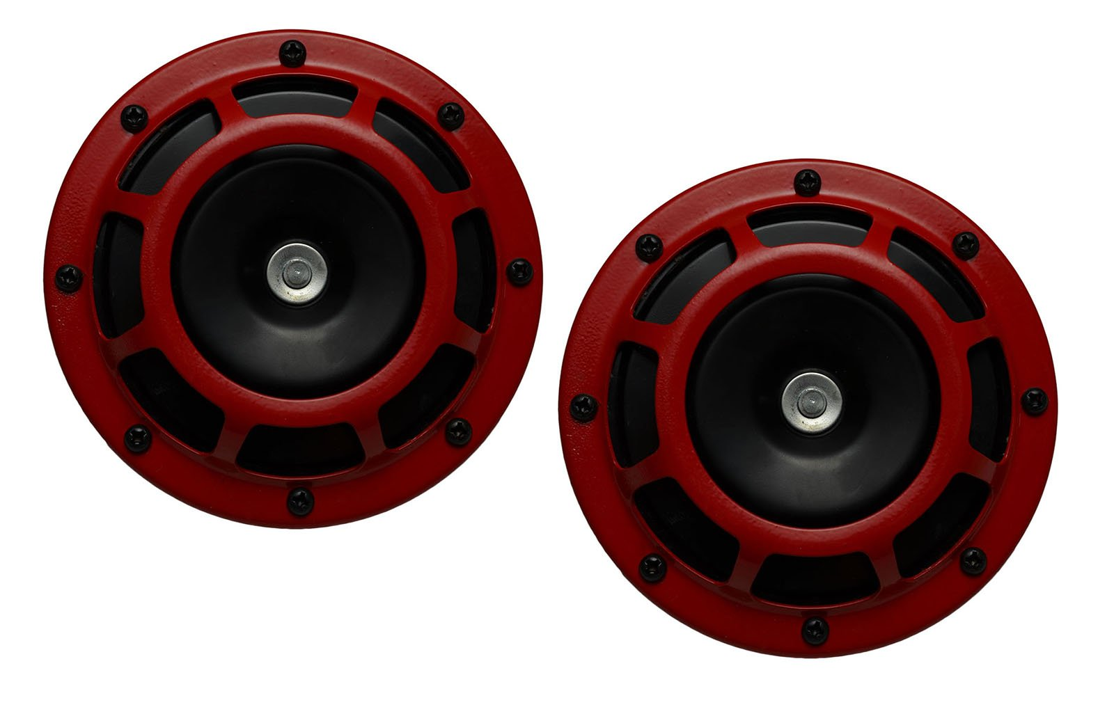 DUAL Super Tone LOUD Blast 139Db Universal Euro RED ROUND HORNS (Quantity 2) High Tone / Low Tone Twin Horn Kit with Bracket Pair Compact – Extremely LOUD for Car Bike Motorcycle Truck for Hyundai Genesis Coupe Tiburon Accent GS GLS SE 2 3 4 door Veloster Turbo Turbocharged Coupe Sedan Hatchback