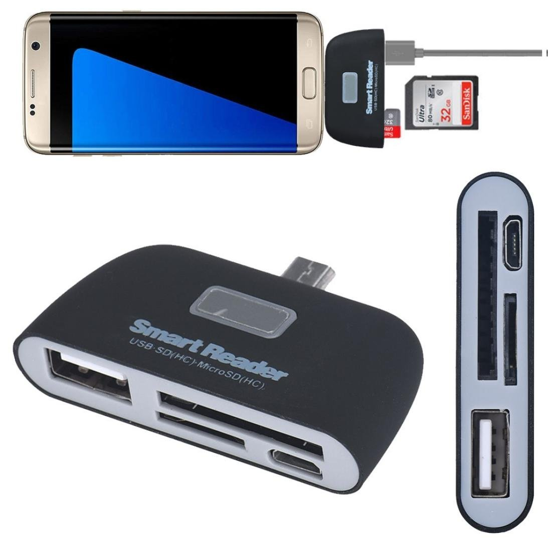 Memory Card Readers, Support SD (HC) /TF Memory Card, USB Output Port, Micro USB 3 in 1 OTG Adapter for Samsung Galaxy S6/S7/S6Edge/S7Edge and other Micro USB interfaces Smart Phone.